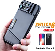 Ztylus Switch 6 for Apple iPhone X / XS: 6 in 1 Dual Optics Lens System (Fisheye, Telephoto, Wide-angle, Macro and Super Macro), Double Layer Protection (Black)