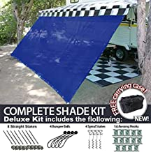 RV Awning Shade Motorhome Patio Sun Screen Complete Deluxe Kit (Blue) (8x15)