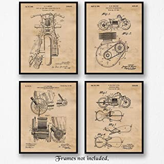 Original Indian Motorcycle Patent Poster Prints, Set of 4 (8x10) Unframed Photos, Great Wall Art Decor Gifts Under 20 for Home, Office, Garage, Man Cave, Shop, Student, Teacher, Motorcycle Touring Fan