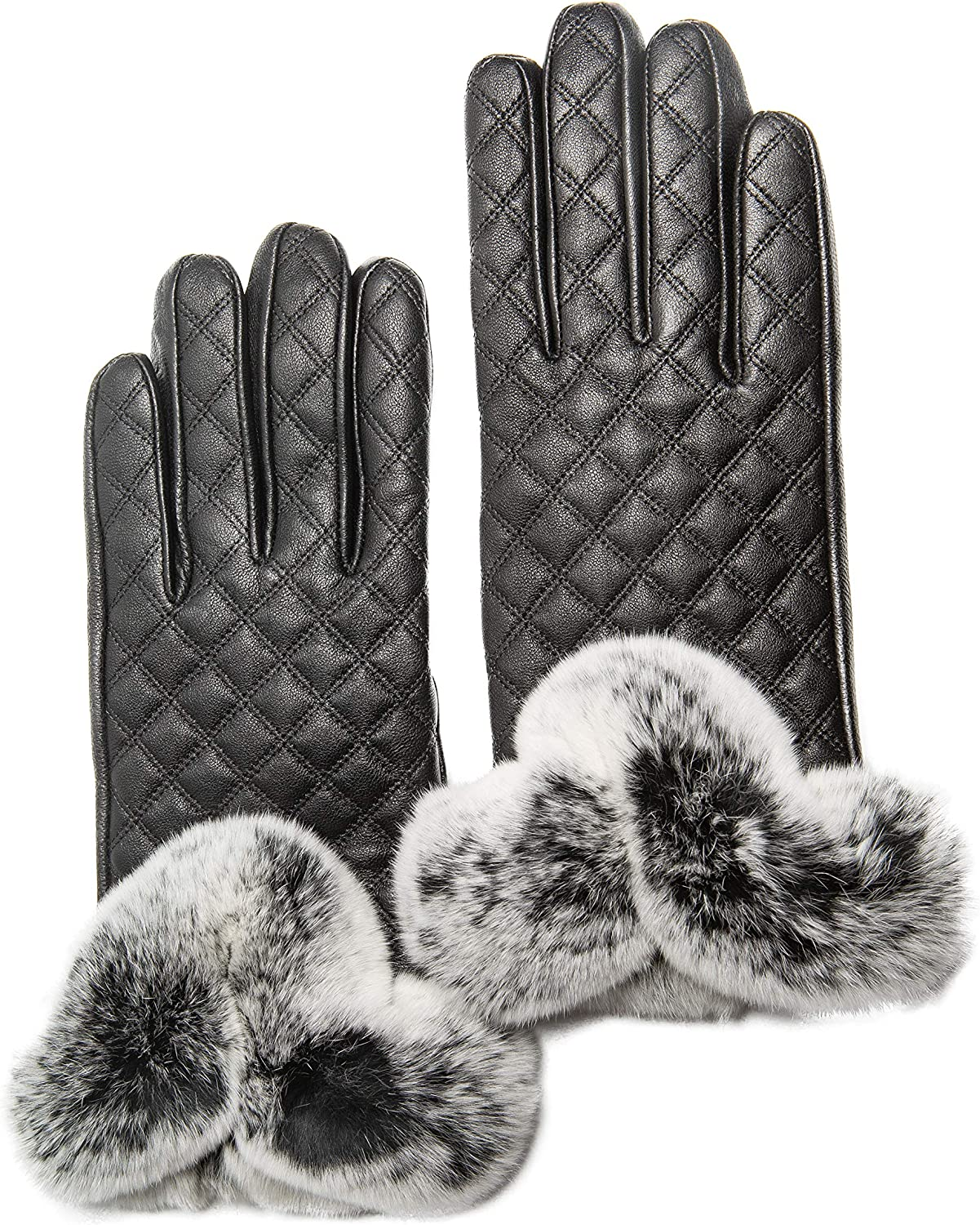 Women's Cashmere Lined Sheepskin Leather Gloves, Touchscreen, Genuine Rex Rabbit Fur Cuff, Gift Box by CANDOR AND CLASS