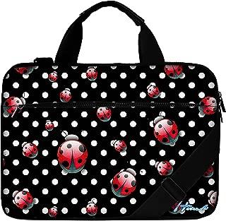 Luxburg   15 6 inch Laptop Bag Case Canvas Shoulder Bag with Handle Polka dots Ladybugs