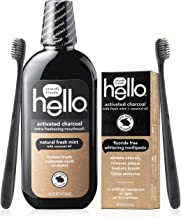 Hello Oral Care Activated Charcoal Fluoride Free & SLS Free Whitening Toothpaste Starter Kit With Extra Freshening Mouthwash & 2 Charcoal Bristle Bpa-Free Toothbrushes