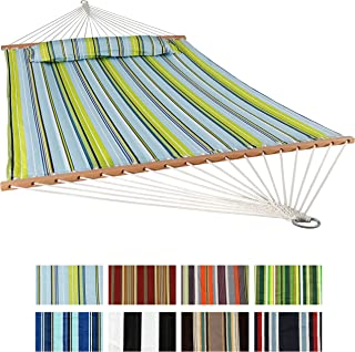 Sunnydaze 2 Person Double Hammock with Spreader Bar, Quilted Fabric Bed - for Outdoor Patio, Porch, and Yard (Blue & Green)