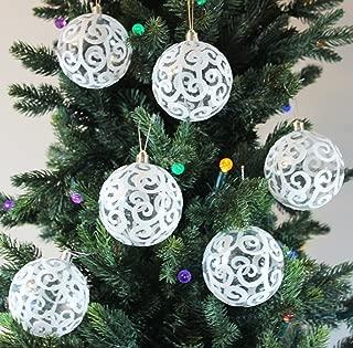 Sleetly Christmas Tree Ball Ornaments, Transparent White Swirl, 3.15 inch, Set of 12