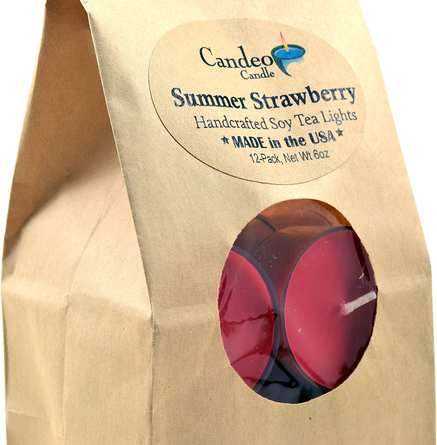 Summer Strawberry Scented Soy Tealights Cup Pack 12 Fresno Mall Cand supreme Clear