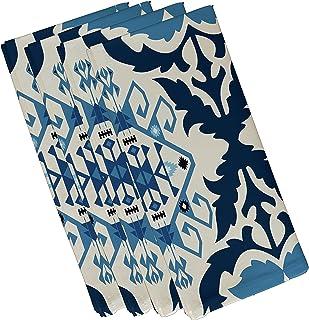 "Bombay 6, Geometric Print Napkin (Set of 4), 19 x 19"", Navy Blue"