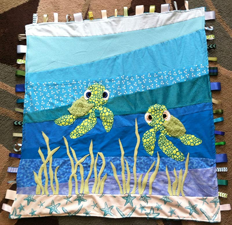 Baby Sea Turtle Ribbon Baby Blanket With Ribbon Tabs 37 X 40