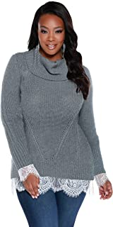 Women's Plus Size Long Sleeve Cowl Neck Poll Over with Computer Stitch and Lace Hem, and Sizes to Choose from