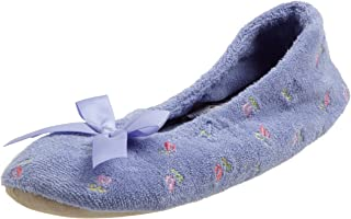 Women's Embroidered Terry Ballerina Slipper (Large, Periwinkle)