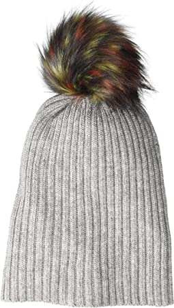 Lightweight Rib Watch Cap with Multi Faux Pom