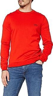 BOSS Hommes Riston S21 Pull en Coton Biologique avec Logo incurvé Contrastant