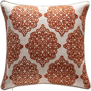 TINA'S HOME Damask Crewel Rope Embroidery Linen Throw Pillow/Charlotte Stitch Accent Pillow (18 x 18 inches, Rust Orange)