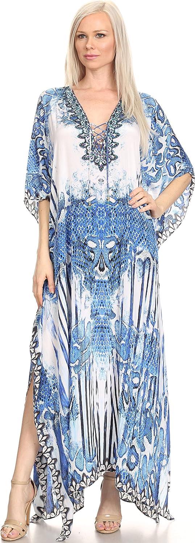 Sakkas Womens Georgettina Flowy Rhinestone V Neck Long Caftan//Kaftan Dress//Cover Up
