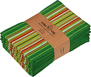 Urban Villa Kitchen Towels, Premium Quality, 100% Cotton Dish Towels,Mitered Corners,Ultra Soft (Size: 20X30 Inch), Leaf Green Waffle Stripes, Highly Absorbent Bar Towels & Tea Towels - (Set of 6)