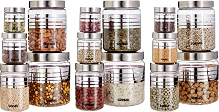 Amazon Brand - Solimo Plastic Container Set, 15-Pieces, Silver with Stainless Steel Lid & Wide Mouth