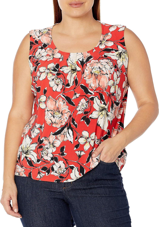 Kasper Womens Watercolor Bouquet Print Pleat Neck Knit Sleeveless Top