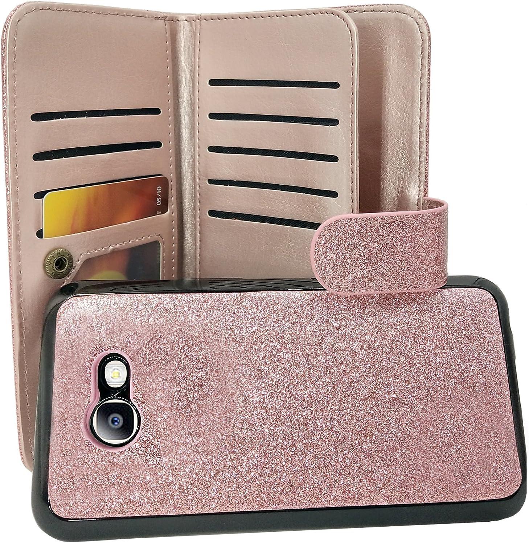 Samsung Galaxy J7 V, J7 Sky Pro, J7 Perx, SM-J727, J7 [2017] Customerfirst PU Leather Wallet Case Designers ID Card Slots Shock Impact Full Body Protection Flip Kickstand Bling case (Rose)