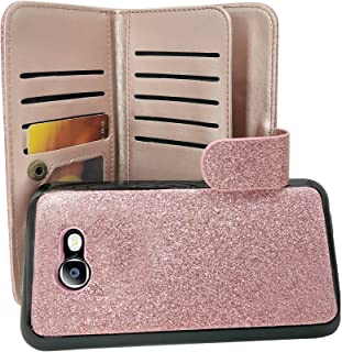 Samsung Galaxy J7 V, J7 Sky Pro, J7 Perx, SM-J727, J7 [2017] Customerfirst PU Leather Wallet Case Designers ID Card Slots Shock Impact Full Body Protection Flip Kickstand Bling case (Rose)
