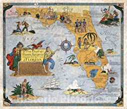 Historic Map - Ye True Chart of Pirate Treasure Lost or Hidden In the Land & Waters of Florida. 1950 - Vintage Wall Art - 24in x 20in