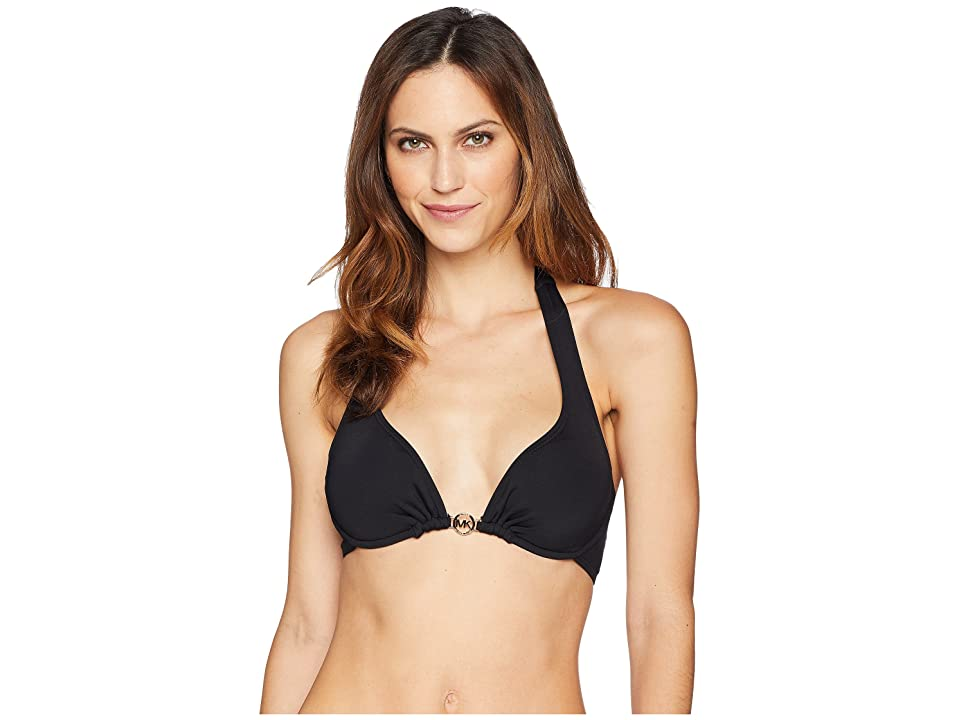 0418a866314ff MICHAEL Michael Kors Iconic Solids Logo Ring Halter Bikini Top w  Removable  Soft Cups U-Wire (Black) Women s Swimwear