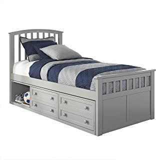 Hillsdale Furniture Hillsdale Charlie Captains Bed with One Storage Unit, Twin Gray