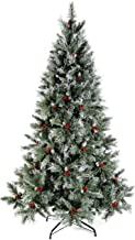 WeRChristmas Scandinavian Blue Spruce Christmas Tree Includes Pine Cones and Berries with Easy Build Hinged Branches, Gree...