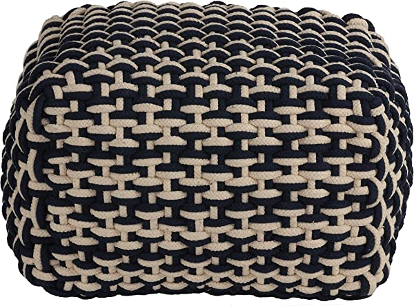 Cortesi Home Griffin Rope Pouf Ottoman Navy And Cream