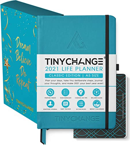 TINYCHANGE 2021 Classic Life Planner Diary; Daily; Weekly and Monthly Organizer Stationery Notebook Habit Tracker and...