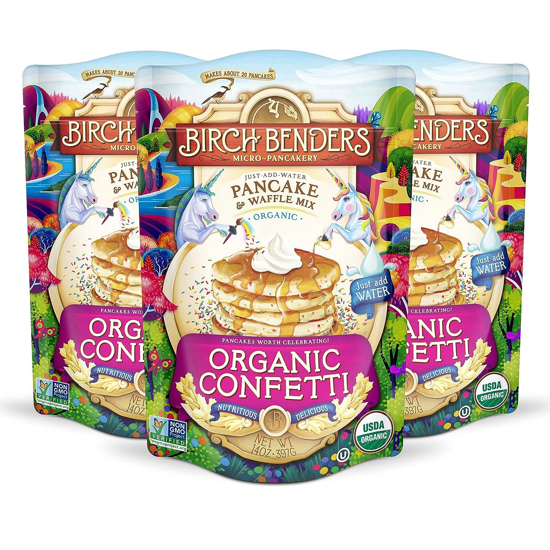 Birch Benders Organic Confetti Just-Add-Water Pancake & Waffle Mix, 3 Pack (14oz Each), 42 Oz