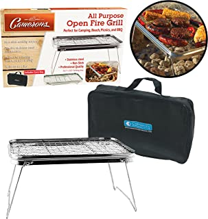 "Open Fire Camping Grill - Portable Compact Non-Stick Grill (16.5"" X 10.5"") - Weighs Just 2.5 Lbs and Includes Carry Bag"