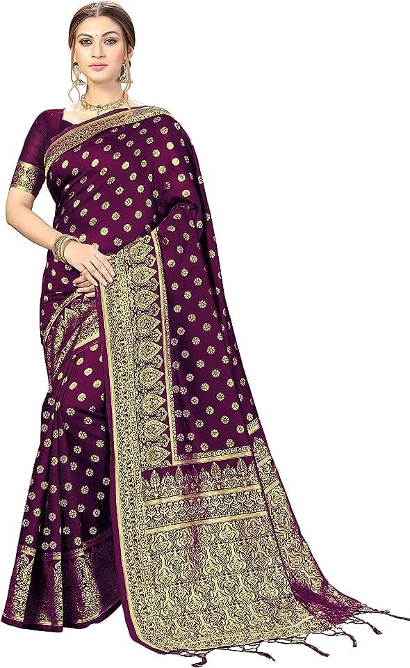 Indian Nivah Fashion Women's Kanjivaram Banarasi Art Silk Saree with Blouse Piece Saree