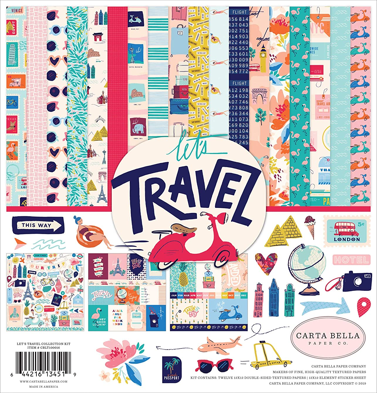 Carta Bella Paper Company CBLT100016 Let's Travel Collection Kit Paper, Pink, Purple, Orange, Blue, Green, Black