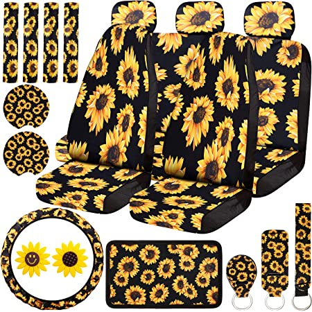 Pizding Yellow Sunflower Design Full Set Car Protective Interior Accessiores for Women with Front Drive Seat Cover and Rear Split Bench Cover Trendy Suit for All Seasons Use