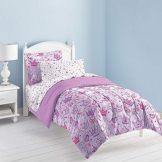 45a0e6e611 Dream Factory Purple Princess Hearts And Crowns Girls Comforter Set, Multi,  Twin