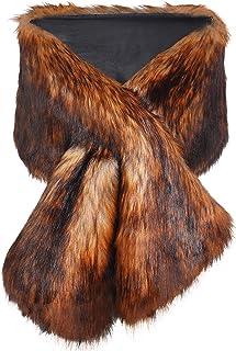 ArtiDeco Damen Kunst Pelz Schal Flauschig Faux Pelz Umschlagtuch Kragen für Wintermantel 1920er Jahre Flapper Accessoires Outfit Warm Zubehör 120 cm lang