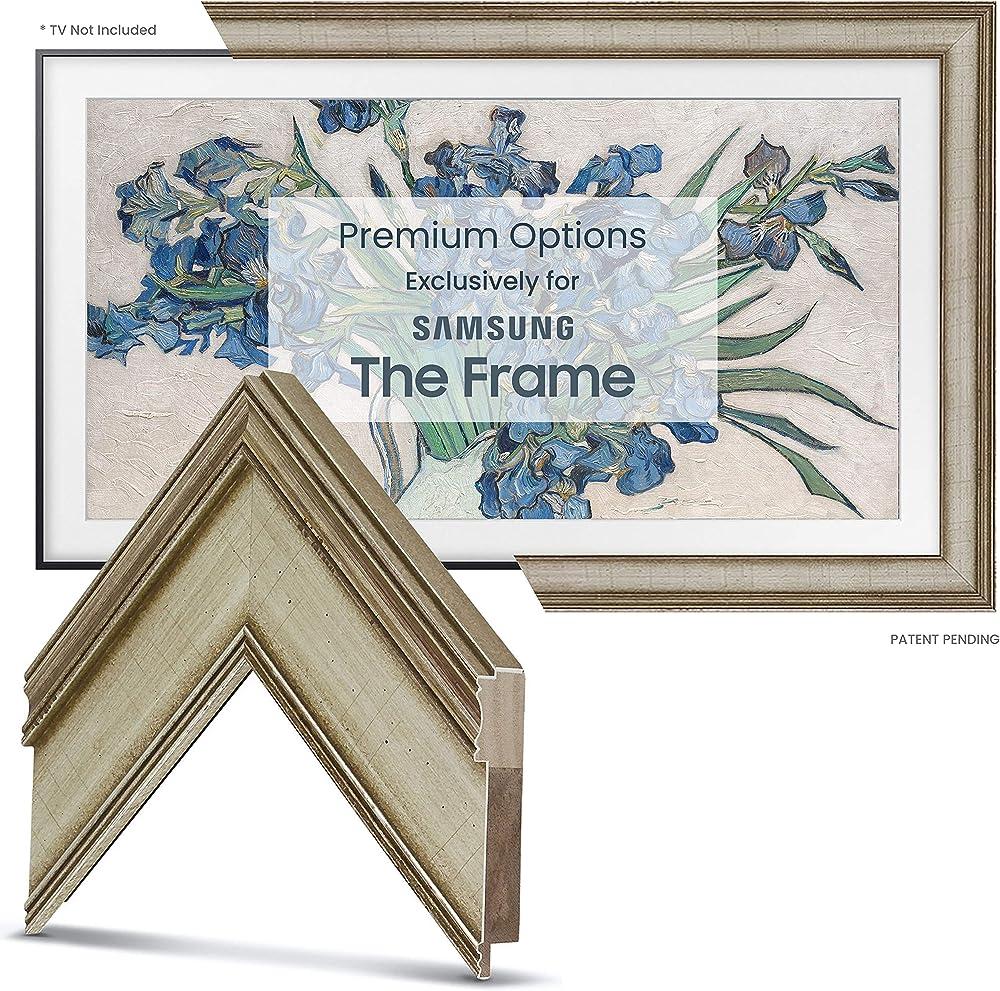 Deco tv frames - cornice in argento caldo personalizzato per samsung the frame tv 49 pollicic FRM-SF-D5180-49