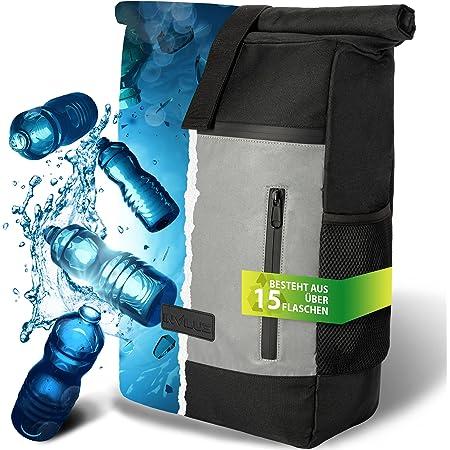 invilus ® - Rolltop Rucksack aus Recyceltem und Stark Reflektierenden Material - [Sicher durch die Nacht] - Für Uni, Sport, Arbeit oder Freizeit - Der perfekte Rucksack für die dunkle Jahreszeit
