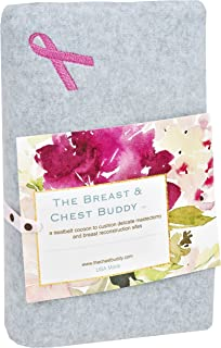 The Breast and Chest Buddy Mastectomy Pillow and Seatbelt Cushion for Mastectomy and Breast Reconstruction Sites Gray with Pink Ribbon