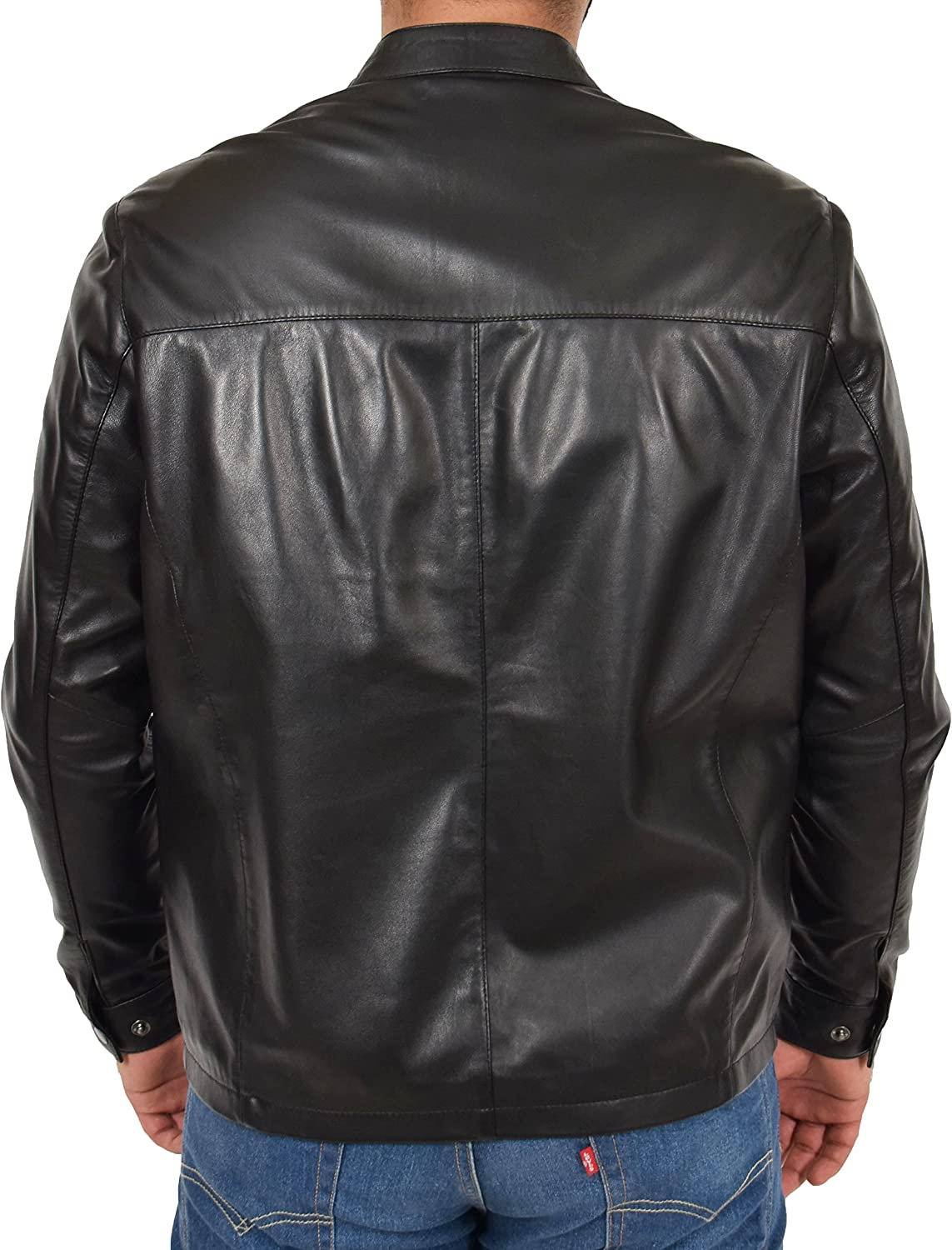 Mens Real Black Leather Jacket Zip Up Casual Standing Collar Regular Fit Coat Amos