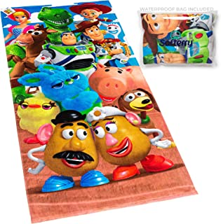 Toy Story Beach Towel Buzz, Woody, Potato Head, Slinky Dog 28 x 58 inches Printed 100% Cotton (Combo 1 Towel + 1 Waterproof Bag)