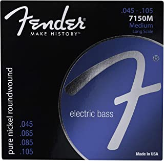 Fender 7150M Pure Nickel Roundwound Long Scale Electric Bass Guitar Strings - Medium