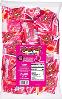Ring Pop Pink Strawberry Party Bulk Bag, Individually Wrapped, Pink Candy Lollipop Suckers with Pink Rings (Pack of 30)