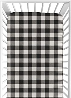 Sweet Jojo Designs Black and White Rustic Farmhouse Woodland Flannel Unisex Boy or Girl Baby or Toddler Fitted Crib Sheet for Buffalo Plaid Check Collection - Country Lumberjack