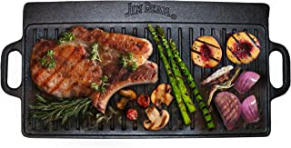 Jim Beam JB0168, Pre Seasoned Heavy Duty Construction Double Sided Cast Iron Griddle Pan with Superior Heat Retention, Black