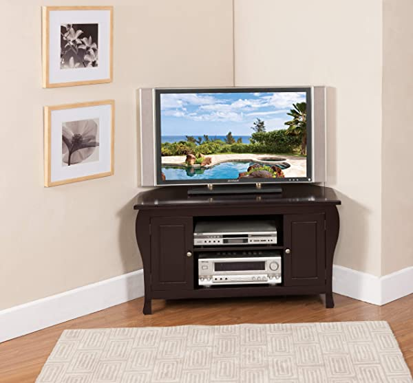 King S Brand Espresso Finish Wood Corner TV Stand Entertainment Center