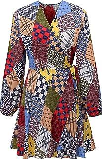 HUA XI YA Womens Wrap V Neck Long Sleeve Mini Dress with Belt