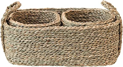 Bloomingville Hand-Woven Seagrass Nested, Natural, Set of 3 Basket, 3