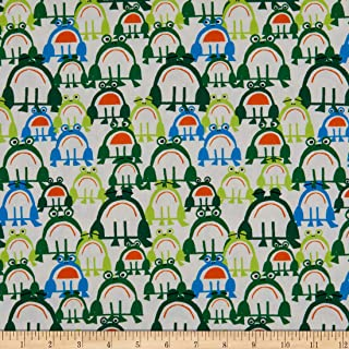 Cloud 9 Fabrics Organic Ed Emberley Favorites Frogs White/Green
