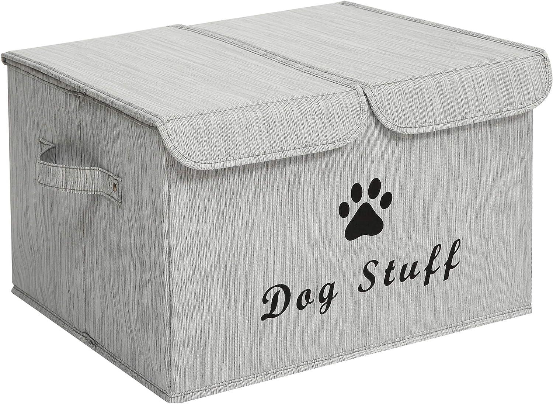 MOREZI Caja de almacenamiento grande para juguetes para mascotas,plegable con tapa abatible, adecuada para guardar juguetes y accesorios para perros y gatos-perro-Bambú Gris