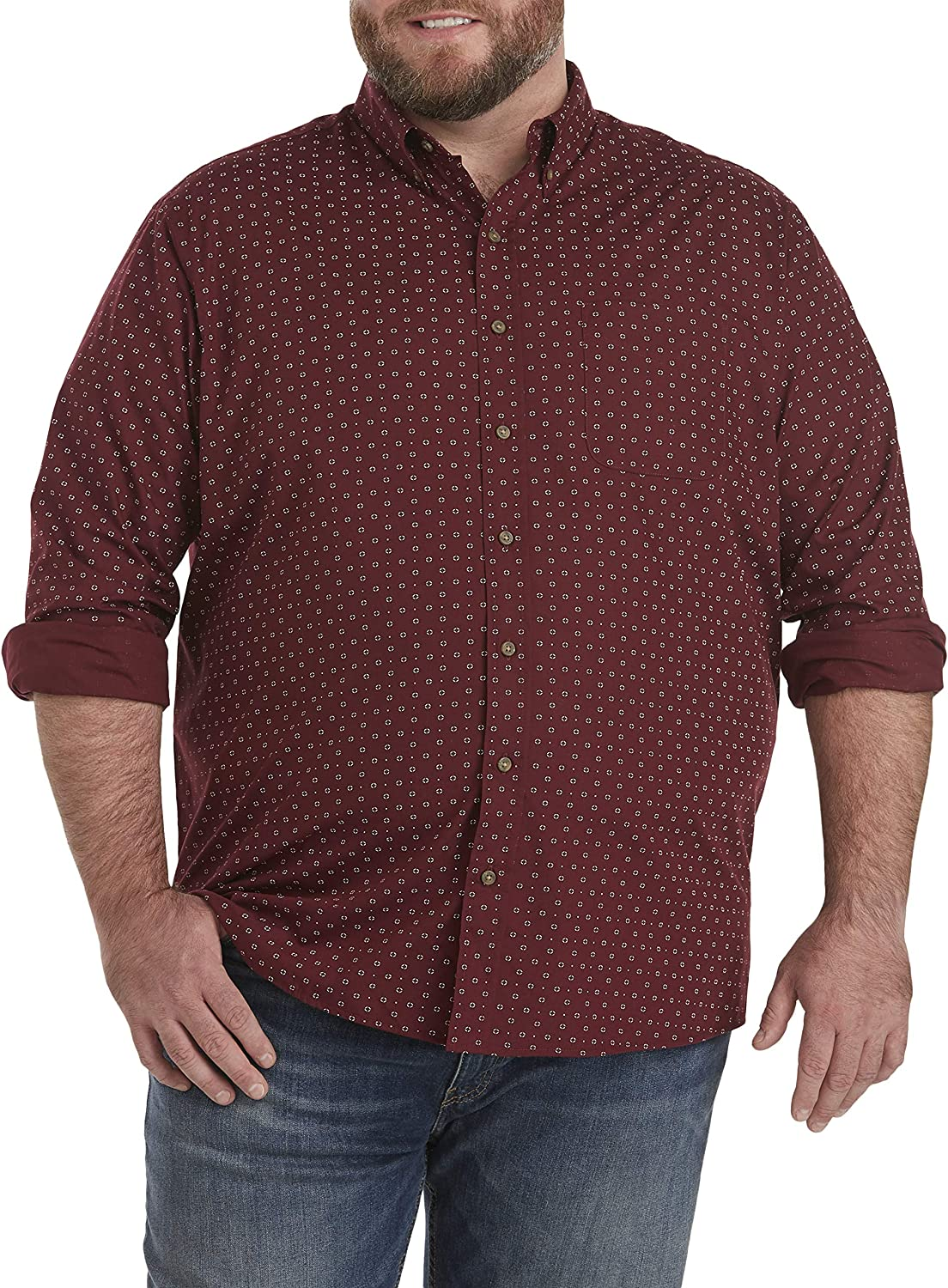 Harbor Bay by DXL Big and Tall Easy-Care Geo Print Sport Shirt, Tawny Port